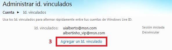 Vincular cuentas en Hotmail