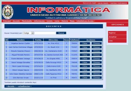 Módulo de Docente - Portal Web Ingeniería Informática - UAGRM